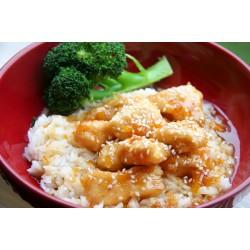 Κοτόπουλο με σως πορτοκάλι και ρύζι