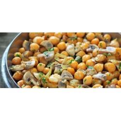 Ζεστή ρεβυθοσαλάτα με μανιτάρια